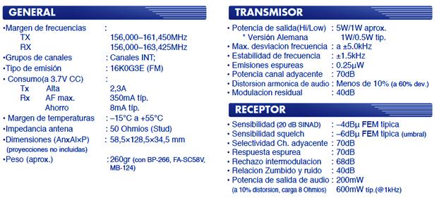Especificaciones IC-M23