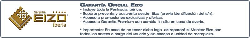 Los monitores Eizo vendidos en MonitoresEizo.com cuentan con la garantía oficial del fabricante, cuyo servicio proporciona al usuario de Eizo la tranquilidad que aporta la alta efectividad de esta garantía