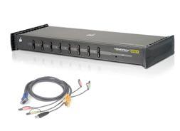IOGEAR Switch KVM 8 Puertos Miniview Ultra + Cables