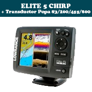 ELITE 5 CHIRP + Transductor de popa 83/200/455/800khz